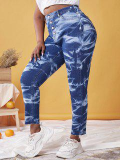 Plus Size Button Fly Tie Dye Frayed Jeans - Deep Blue 5x