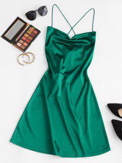 ZAFUL Lace Up Open Back Satin Party Dress - Green S