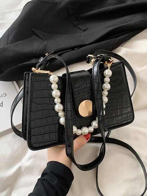 Künstliche Perle Verzierte Doppelte Gurt Geprägte Umhängetasche - Schwarz  Mobile