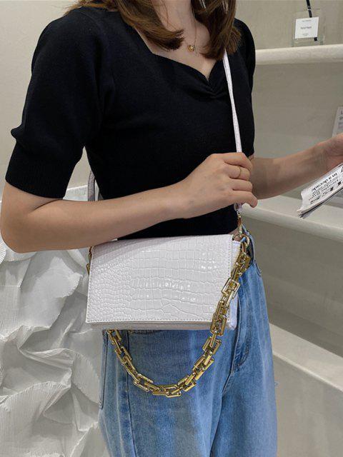 Geprägte Umhängetasche mit Doppeltem Riemen - Weiß  Mobile