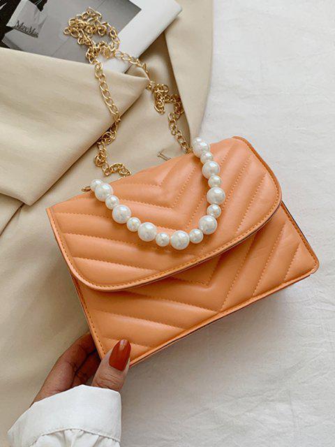 Zickzack Gesteppte Künstliche Perle Klappe Umhängetasche - Orange  Mobile