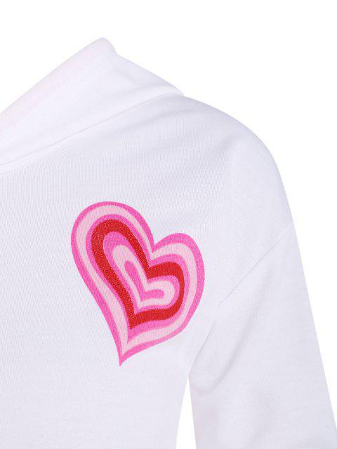 shops Ribbed Hem Heart Print Drawstring Hoodie - WHITE M Mobile
