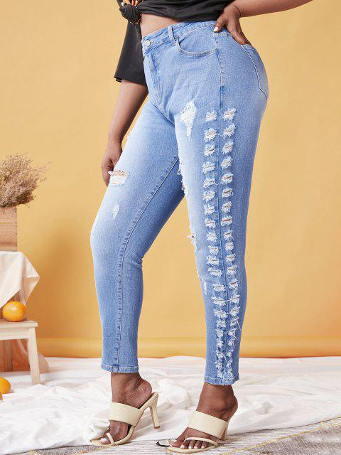 unique Plus Size Ripped Faded Skinny Jeans - LIGHT BLUE 5X Mobile