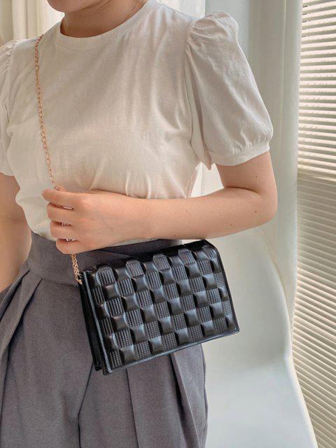 Quadrat Gesteppte Verstellbarer Umhängetasche mit Kettenriemen - Schwarz  Mobile