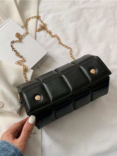 Quadrat Gesteppte Klappe Kette Umhängetasche - Schwarz  Mobile