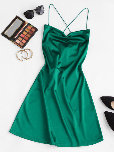 new ZAFUL Lace Up Open Back Satin Party Dress - GREEN XL Mobile