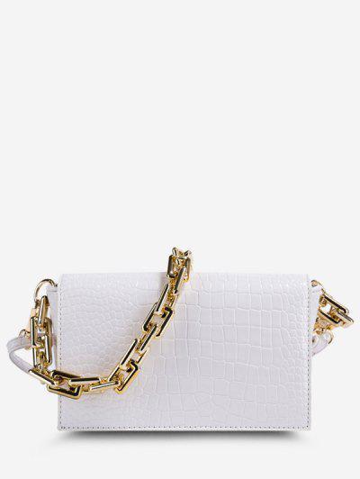 Embossed Double Strap Flap Crossbody Bag - White