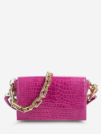 Embossed Double Strap Flap Crossbody Bag - Rose Red