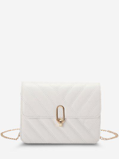 Slash-Quilted Half-Chain Strap Flap Crossbody Bag - White
