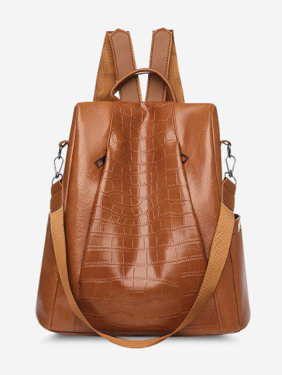 Embossed Side-Open Multi Strap Faux Leather Backpack - Brown