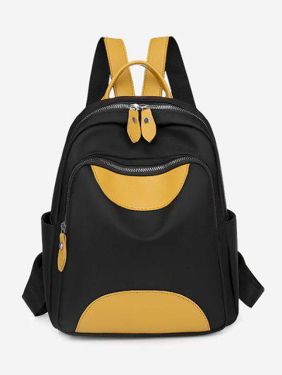 Colorblock PU Spliced Double Compartment Backpack - Black