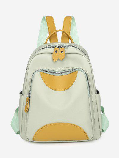 Colorblock PU Spliced Double Compartment Backpack - Light Green
