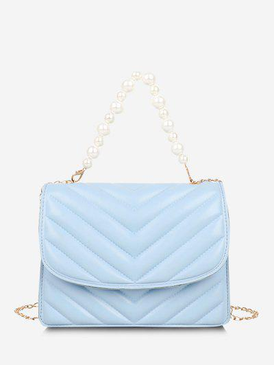 Zigzag-Quilted Faux Pearl Flap Crossbody Bag - Light Blue