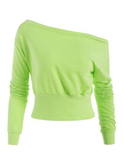 Skew Collar Wide Ribbed Hem Sweatshirt - Light Green L