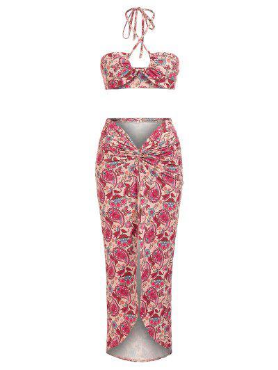 ZAFUL Multi Way Paisley Butterfly Print Twist Slit Skirt Set - Multi S