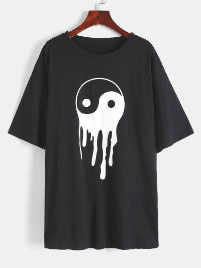 Yin And Yang Print Round Neck T-Shirt - Black L