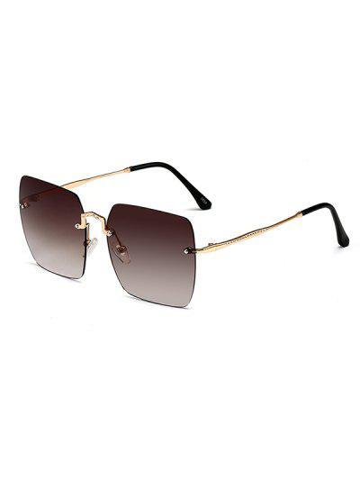 Rimless Metal Square Sunglasses - Deep Coffee