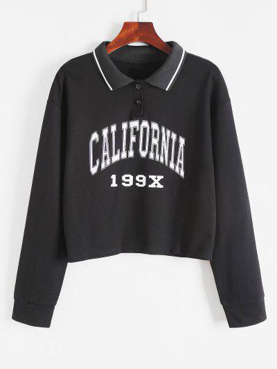 Turn-Down Collar Buttoned Graphic Preppy Cropped Sweatshirt - Black S
