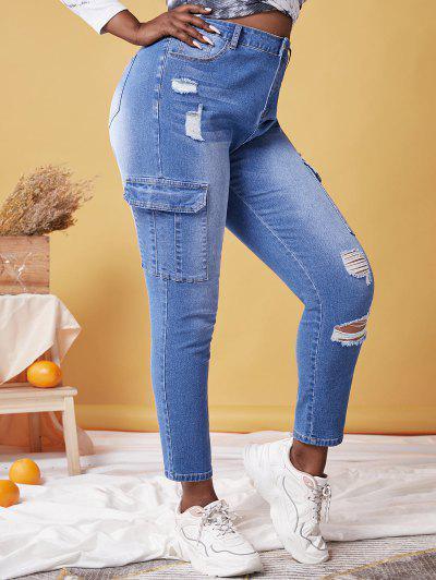 Plus Size Pockets Ripped Jeans - Blau 3x