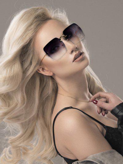 Quadratische Randlose Sonnenbrille Aus Metall - Grau