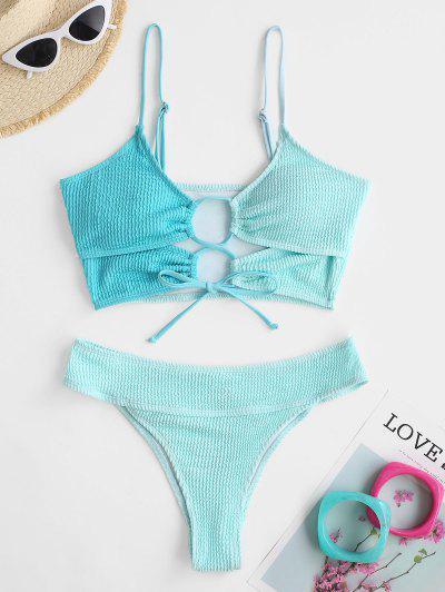 ZAFUL Lace Up Two Tone Crinkle Textured Cheeky Tankini Swimwear - Light Blue Xxl