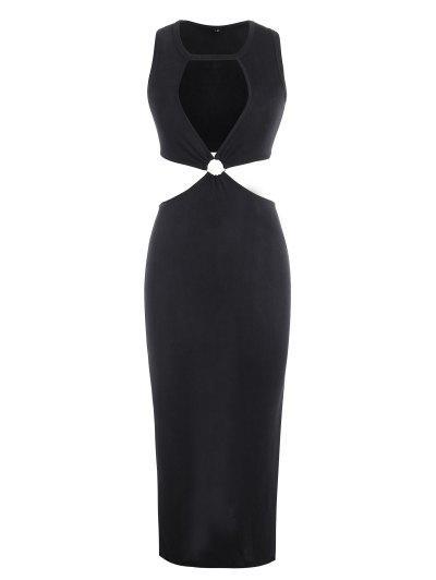 Jersey O Ring Cutout Thigh Split Slinky Dress - Black L