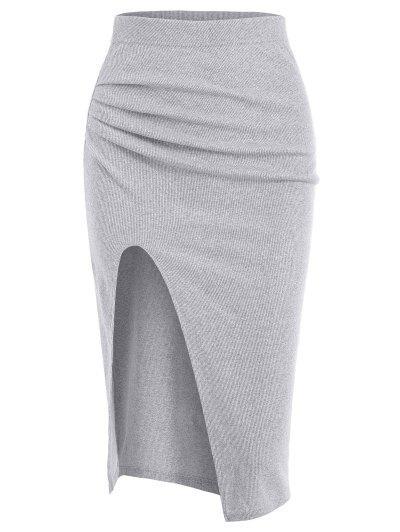 Ruched Ribbed Thigh Slit Draped Skirt - Light Gray