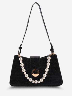 zaful Faux Pearl Embellished Double Strap Embossed Shoulder Bag