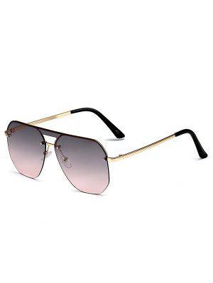 zaful Irregular Frame Flat-Top Rimless Metal Sunglasses