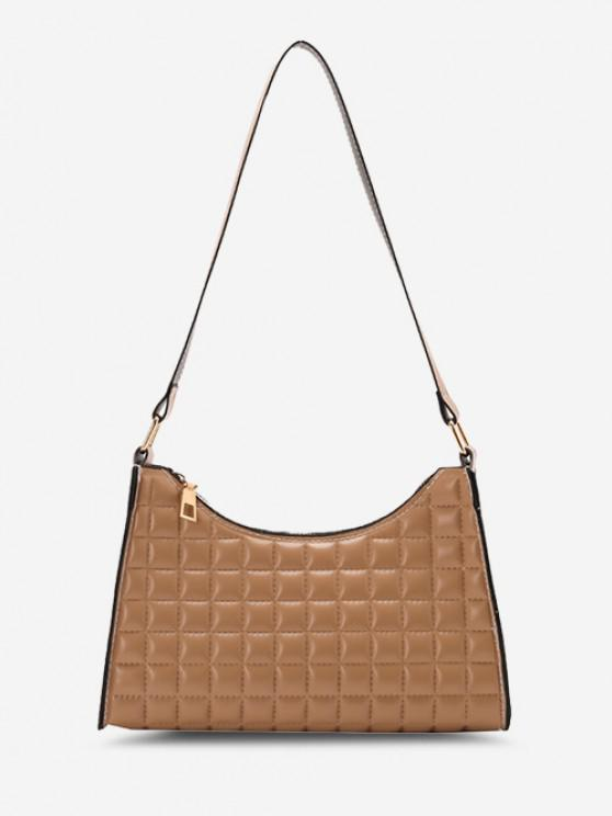 Minimalistic Square-Quilted Shoulder Bag - ضوء الكاكي