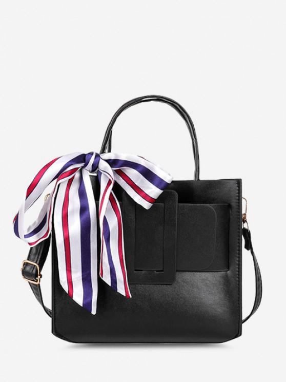 Scarf Embellished Top Handle Buckle Crossbody Bag - أسود