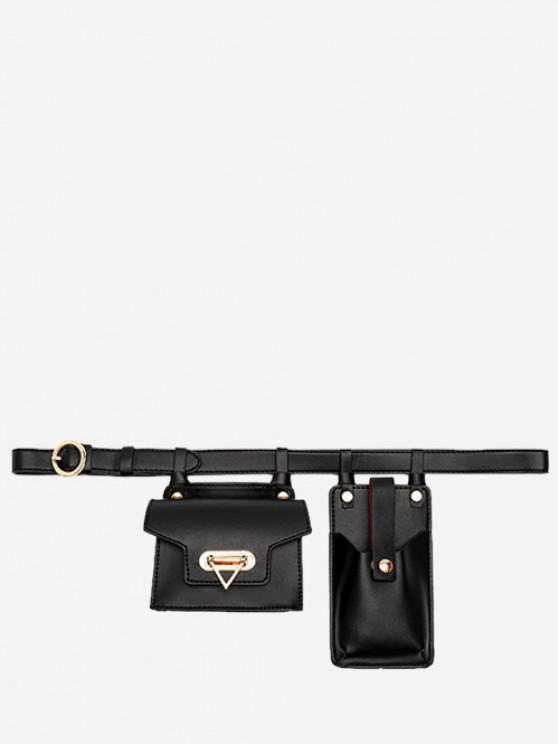 Mini Flap Waist Belt Bag With Phone Bag - أسود