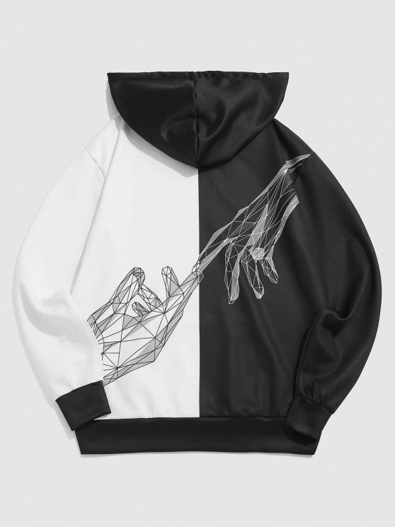 Two Tone Diamond Hand Print Hoodie - أسود 2XL