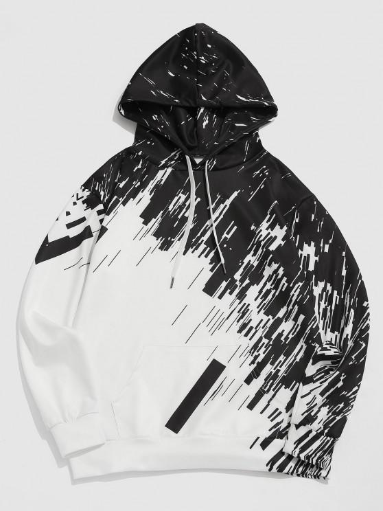 Abstract Geometric Print Kangaroo Pocket Hoodie - أبيض M