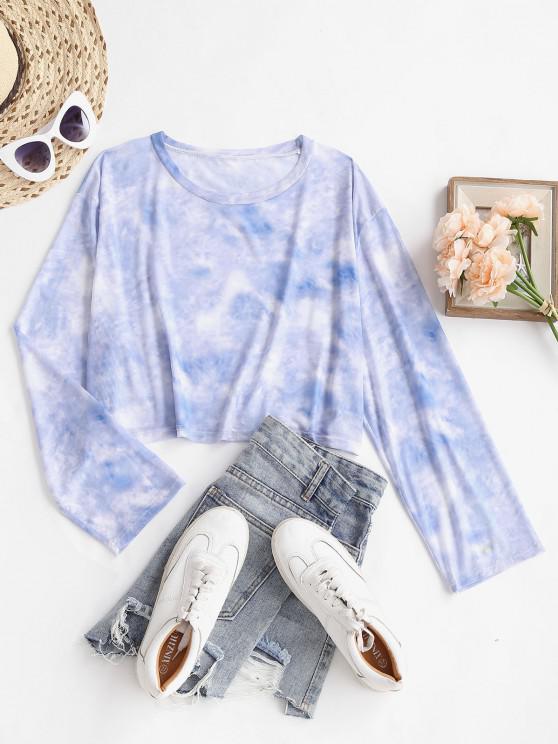 online Cropped Tie Dye Sheer Mesh Long Sleeve Top - LIGHT BLUE ONE SIZE