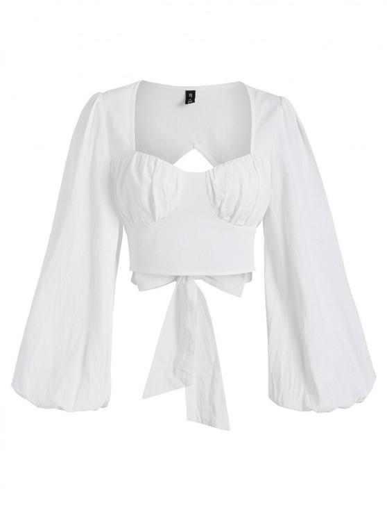 online Cropped Cutout Knot Back Lantern Sleeve Bustier Top - WHITE S