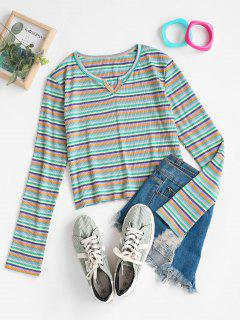 V-notch Ribbed Colorful Striped Long Sleeve Top - Multi S