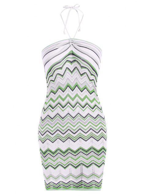Halfter Zickzack Kleid mit Spaghetti Trägern - Grün M Mobile