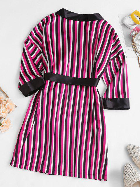 Gestreifter Satin Pyjama Wickeln Robe - Schwarz XL Mobile