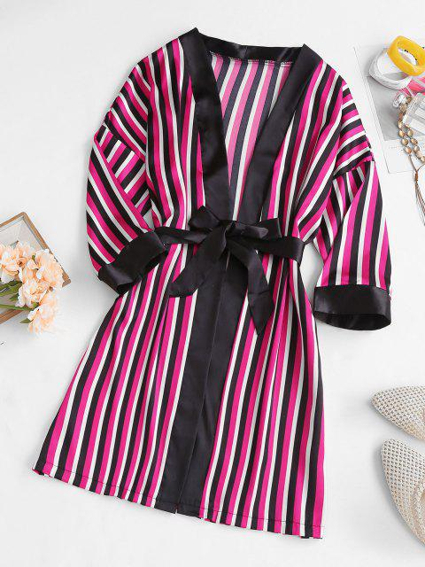 Bata de Pijama con Cinturón de Satén y Cinturón - Negro S Mobile