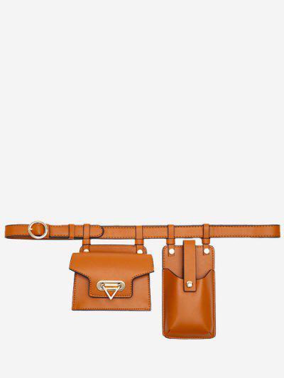 Mini Flap Waist Belt Bag With Phone Bag - Brown