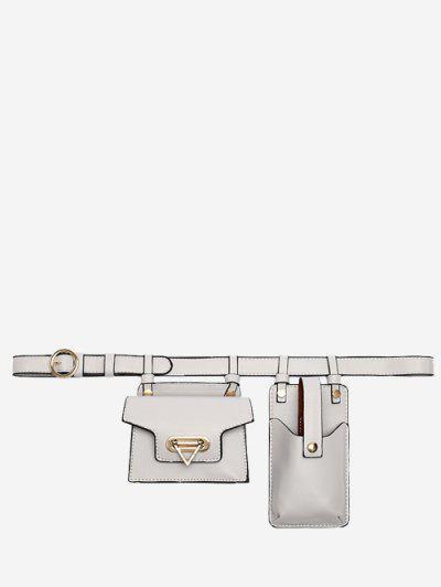 Mini Flap Waist Belt Bag With Phone Bag - Light Gray