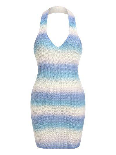 ZAFUL Ombre Halter Bodycon Sweater Dress - Multi M