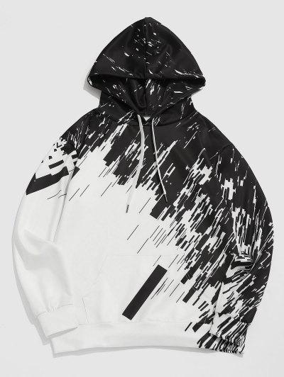 Abstract Geometric Print Kangaroo Pocket Hoodie - White M