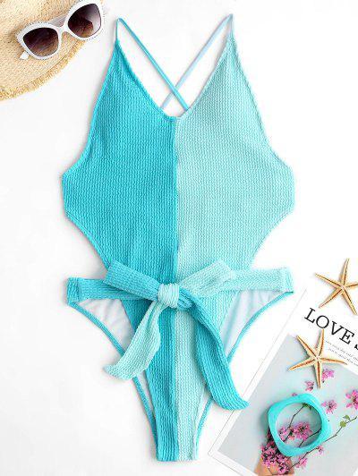 ZAFUL Two Tone High Cut Cross One-piece Swimsuit - Light Blue L