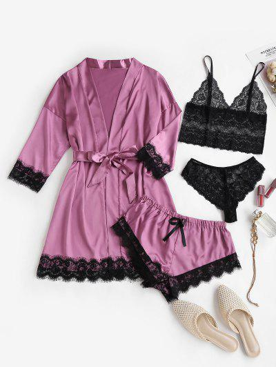 Satin Wrap Robe And Lace Sheer PJ Camisole Set - Purple S