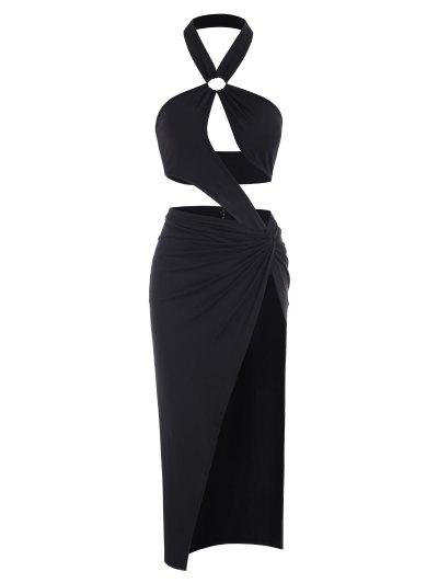 Halter O-ring Cut Out Bodysuit And Twisted Skirt Set - Black M
