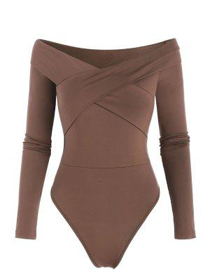 zaful Off The Shoulder Crossover Long Sleeve Bodysuit