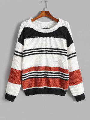 zaful ZAFUL Plus Size Colorful Striped Chunky Sweater