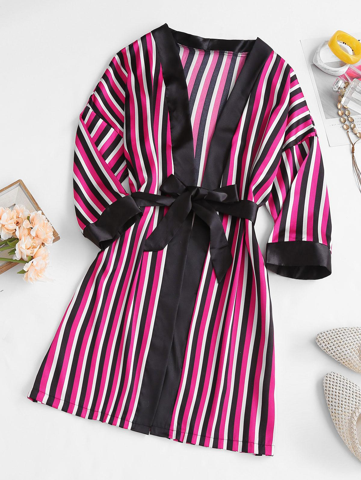 Striped Satin Belted Pajama Wrap Robe
